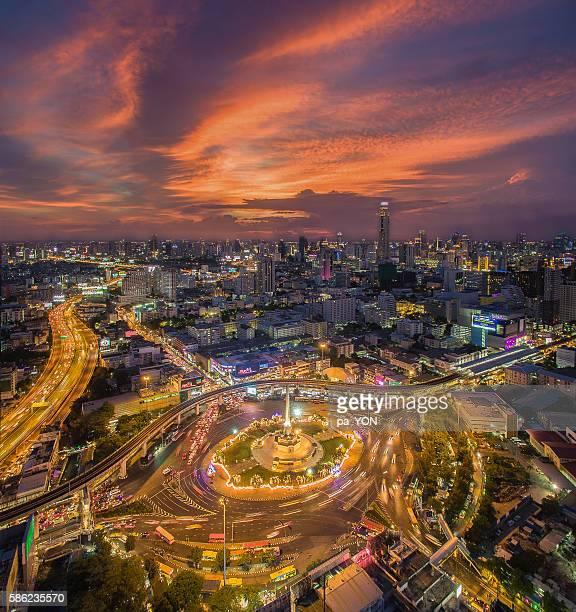 Victory monument aerial view, Bangkok, Thailand