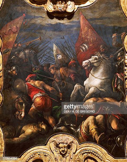 Victory of the Venetians over the Milanese at Maclodio in 1426, by Francesco Da Ponte called Bassano , 1579-1584, oil on canvas, Hall of the Great...