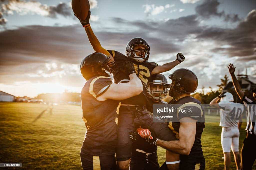 Overwinning op American Football match! : Stockfoto