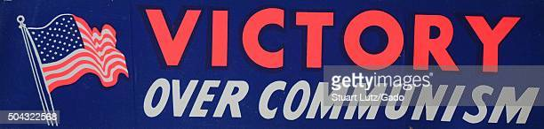 Victory over Communism a bumper sticker from the Cold War era expressing support for the victory of capitalism over communism with an image of the...