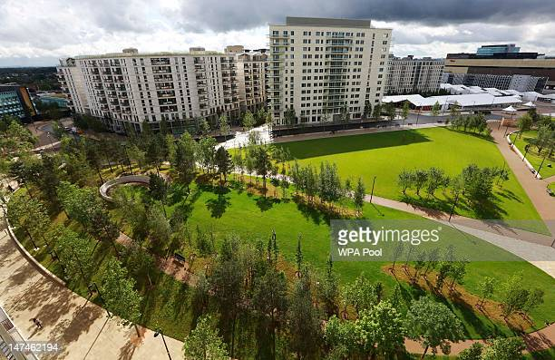 Victory Park in the Olympic Village, built for the London 2012 Olympic Games, is seen on June 29, 2012. In Stratford, east London. The village will...