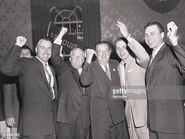 Victory Party Brooklyn New York Celebrating at the Brooklyn Dodgers' victory party at the Bossert Hotel in Brooklyn October 4 are Duke Snider hitting...