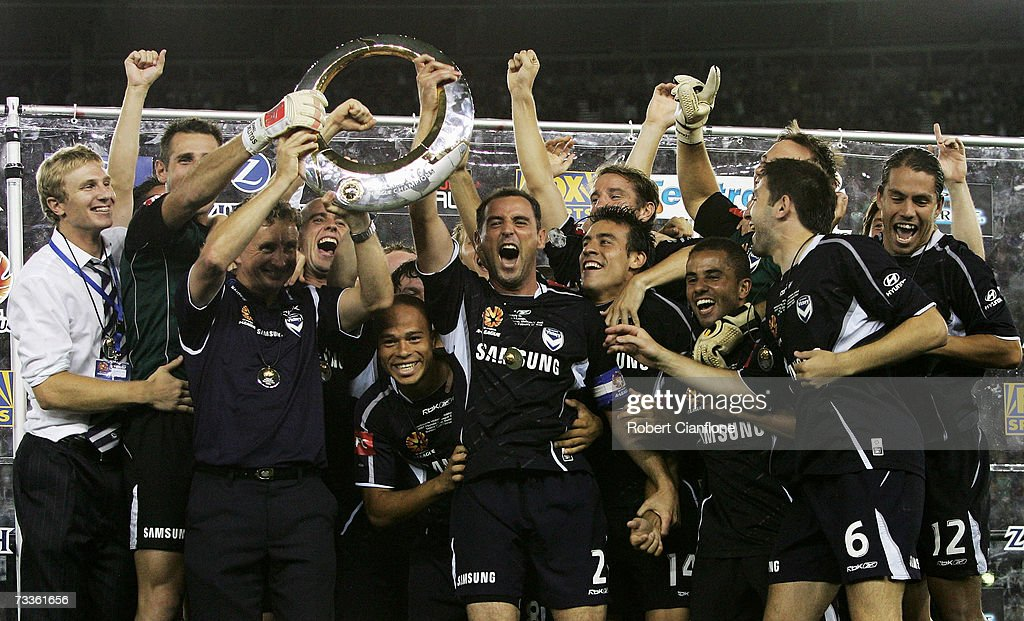 Victory players celebrate after Victory defeated United six nil at the Hyundai A-League Grand Final between the Melbourne Victory and Adelaide United at the Telstra Dome February 18, 2007 in Melbourne, Australia.