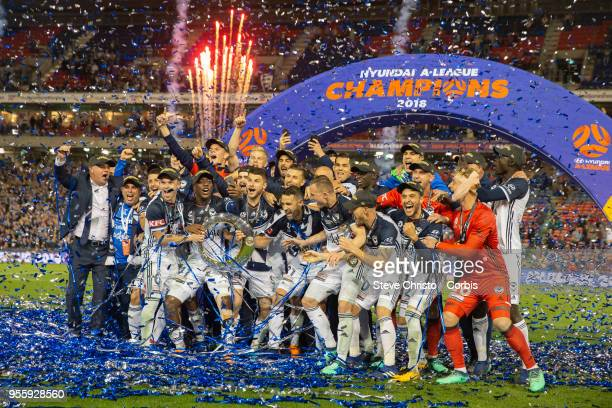 Victory players celebrate winning the 2018 A-League Grand Final match between the Newcastle Jets and the Melbourne Victory at McDonald Jones Stadium on May 5, 2018 in Newcastle, Australia.
