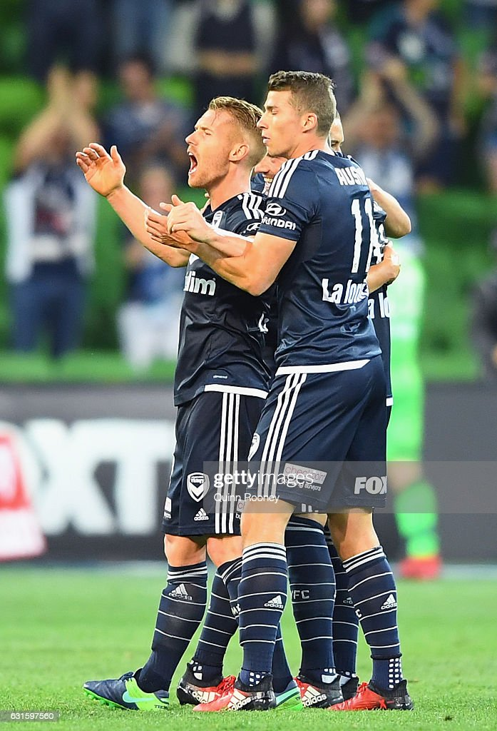 Victory players celebrate winning the round 15 A-League match between the Melbourne Victory and the Brisbane Roar at AAMI Park on January 13, 2017 in Melbourne, Australia.