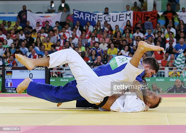 Victory point of Cyrille Maret of France over Karl Richard Frey of Germany during the final Judo men's 100kgs at Carioca Arena 2 during Day 6 of the...