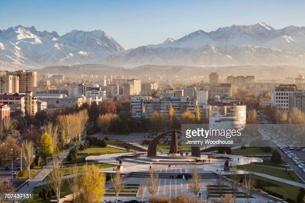 victory square near kyrgyz range, bishkek, frunze, kyrgyzstan - kyrgyzstan stock pictures, royalty-free photos & images