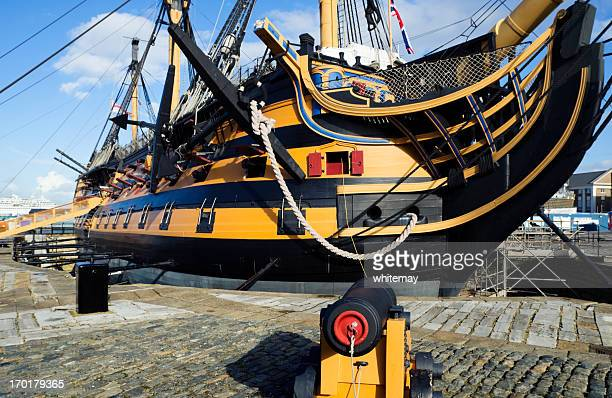 hms victory under repairs - royal navy stock pictures, royalty-free photos & images