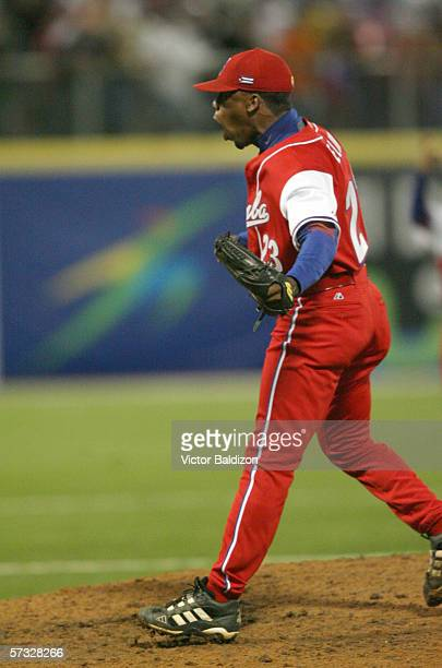 Vicyohandry Odelin of Cuba pitches against Puerto Rico on March 15 2006 at Hiram Bithorn Stadium in San Juan Puerto Rico Cuba defeated Puerto Rico 43