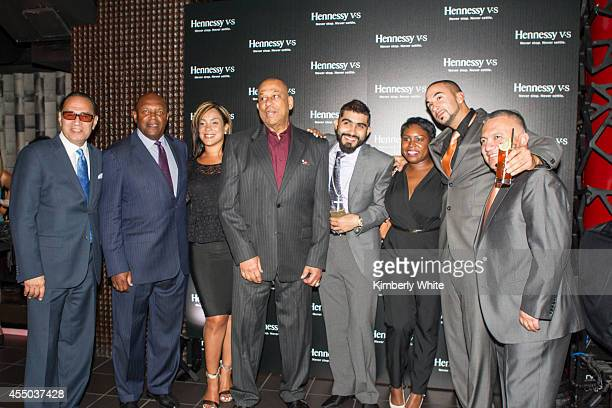 Vida Blue and Orlando Cepeda and Sergio Romo of the San Francisco Giants, stand with Hennessey executives at Infusion Lounge on September 8, 2014 in...