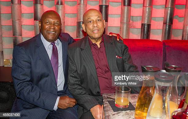 Vida Blue and Orlando Cepeda San Francisco Giants baseball legends, sit together at Infusion Lounge on September 8, 2014 in San Francisco, California.
