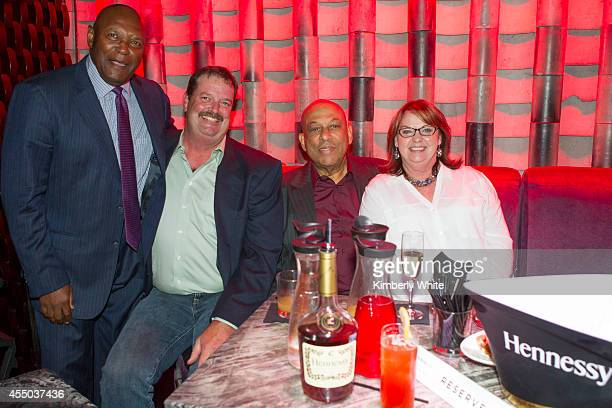 Vida Blue and Orlando Cepeda San Francisco Giants baseball legends, sits with friends at Infusion Lounge on September 8, 2014 in San Francisco,...