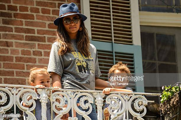 Vida McConaughey, actor Camila Alves, and Levi McConaughey participate in a charity Amazing Race Scavenger Hunt at a New Orleans apartment on May 17,...