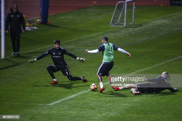 Vida Quaresma and Fabri of Besiktas attend a training session ahead of the second half of the Turkish Super Lig in Antalya Turkey on January 8 2018