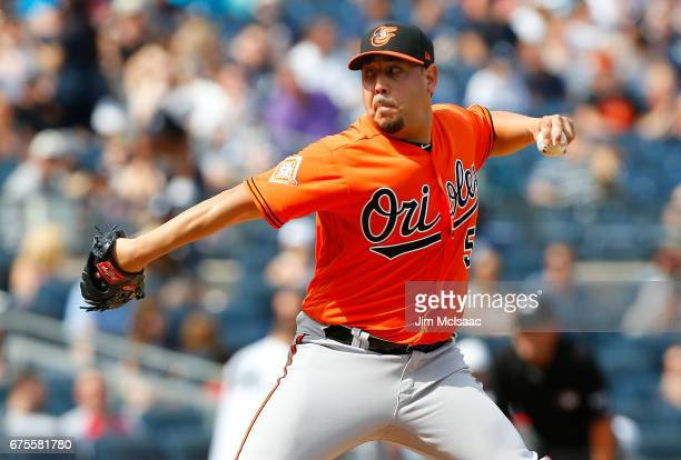 Vidal Nuno of the Baltimore Orioles in action against the New York Yankees at Yankee Stadium on April 29 2017 in the Bronx borough of New York City...