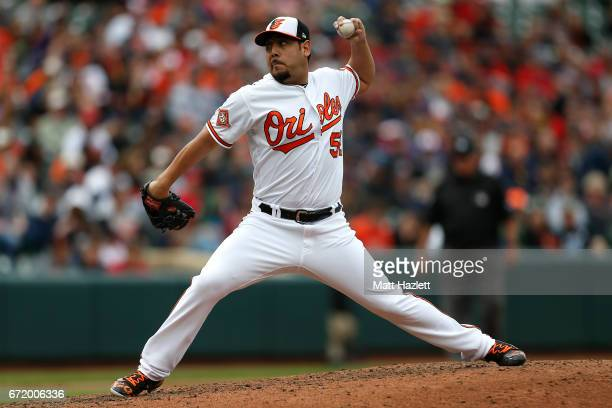 Vidal Nuno of the Baltimore Orioles pitches against the Boston Red Sox in the seventh inning at Oriole Park at Camden Yards on April 23 2017 in...
