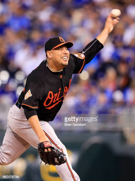 Vidal Nuno of the Baltimore Orioles pitches against the Kansas City Royals during the game at Kauffman Stadium on May 12 2017 in Kansas City Missouri