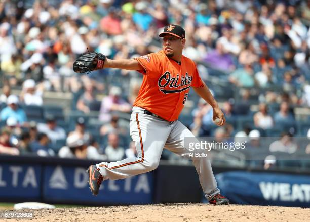 Vidal Nuno of the Baltimore Orioles pitches against the New York Yankees during their game at Yankee Stadium on April 29 2017 in New York City