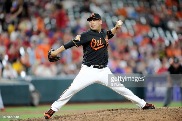 Vidal Nuno of the Baltimore Orioles pitches against the St Louis Cardinals at Oriole Park at Camden Yards on June 16 2017 in Baltimore Maryland