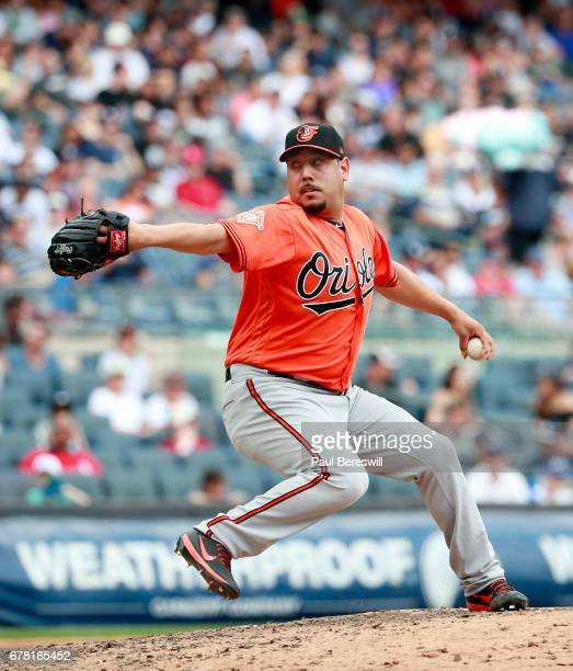 Vidal Nuno of the Baltimore Orioles pitches during an MLB baseball game against the New York Yankees on April 29 2017 at Yankee Stadium in the Bronx...