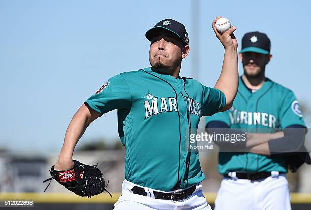 Vidal Nuno of the Seattle Mariners participates in a spring training workout at Peoria Sports Complex on February 20 2016 in Peoria Arizona