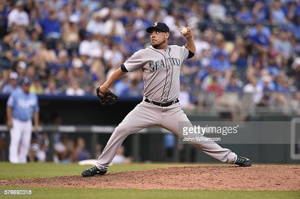 Vidal Nuno of the Seattle Mariners pitches against the Kansas City Royals on July 9 2016 at Kauffman Stadium in Kansas City Missouri The Kansas City...