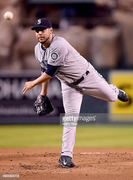 Vidal Nuno of the Seattle Mariners pitches against the Los Angeles Angels during the first inning at Angel Stadium of Anaheim on September 25 2015 in...