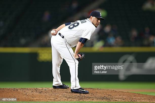 Vidal Nuno of the Seattle Mariners pitches during the game against the Houston Astros at Safeco Field on September 29 2015 in Seattle Washington The...