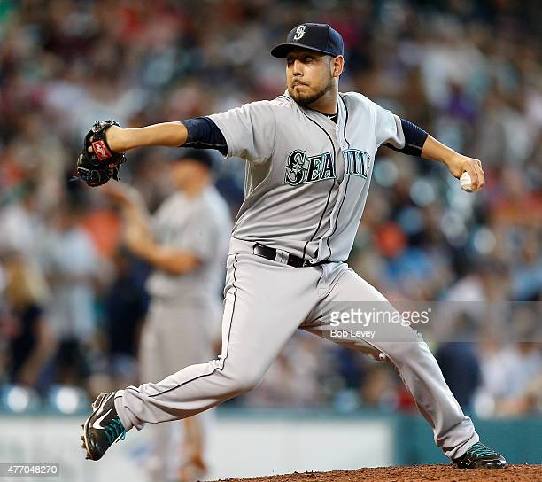 Vidal Nuno of the Seattle Mariners pitches in the ninth inning against the Houston Astros at Minute Maid Park on June 13 2015 in Houston Texas
