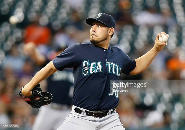 Vidal Nuno of the Seattle Mariners throws in the first inning against the Houston Astros at Minute Maid Park on August 31 2015 in Houston Texas