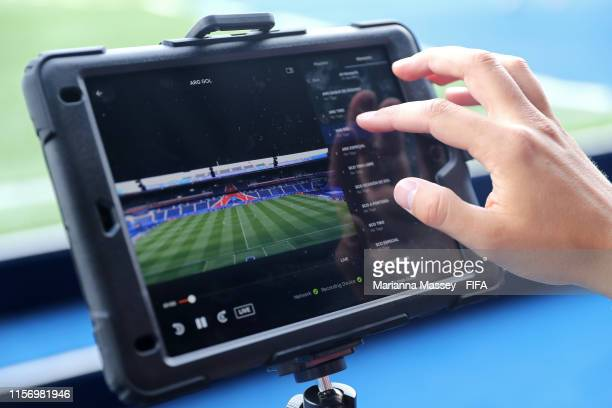 Video analysis is seen in the dugout prior to the 2019 FIFA Women's World Cup France group D match between Scotland and Argentina at Parc des Princes...