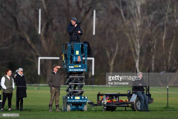 Video analyst is seen during the Club Rugby Combined Country Division 1 Quarterfinals match between Waihora RFC and Darfield RFC on June 2, 2018 in...