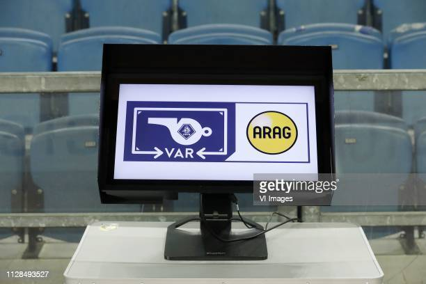 video assistant referee screen during the Dutch Eredivisie match between Vitesse Arnhem and NAC Breda at Gelredome on March 02 2019 in Arnhem The...