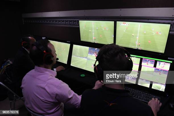 Video Assistant Referee system inside the VARvan is opened to media during a training session ahead of the international friendly match between Japan...