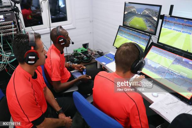 Video Assistant Referees prepare in the VAR cabin prior to the FIFA Confederations Cup Russia 2017 Group A match between Mexico and New Zealand at...
