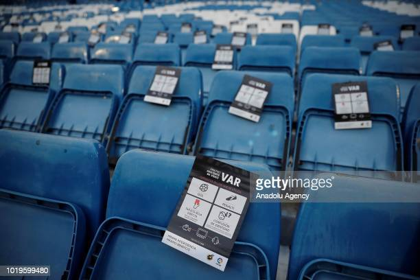Video assistant referees publicity brochures are placed on stands ahead of the La Liga soccer match between Real Madrid and Getafe at Santiago...