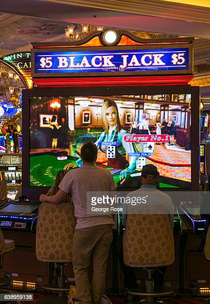 A video blackjack gambling machine at the Venetian Hotel Casino is viewed on January 3 2017 in Las Vegas Nevada Tourism in America's 'Sin City' has...