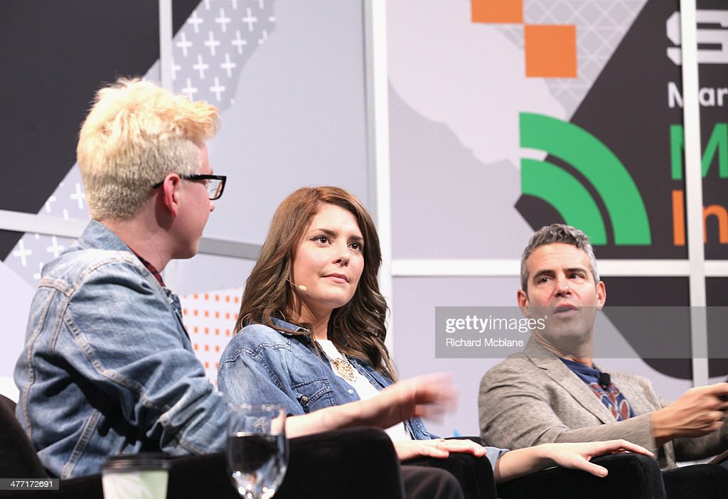Video blogger Tyler Oakley, actress/comedian Grace Helbig and tv personality Andy Cohen speak onstage at 'Super Fandom in the Digital Age' during the 2014 SXSW Music, Film + Interactive Festival at Austin Convention Center on March 7, 2014 in Austin, Texas.