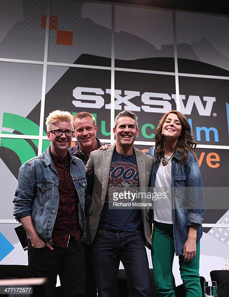 Video blogger Tyler Oakley online personality Ze Frank tv personality Andy Cohen and actress/comedian Grace Helbig speak onstage at 'Super Fandom in...