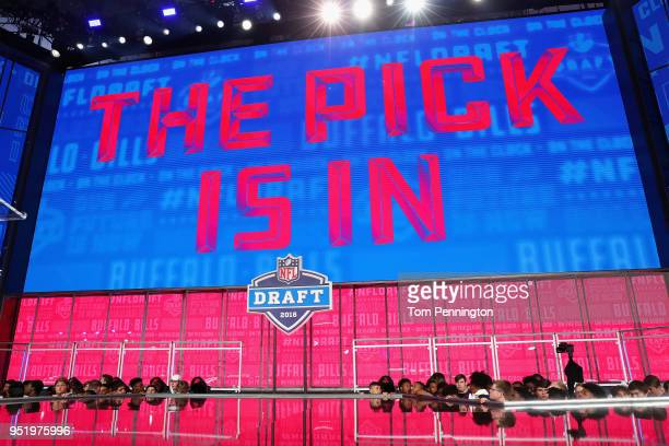 A video board displays the text THE PICK IS IN for the Buffalo Bills during the first round of the 2018 NFL Draft at ATT Stadium on April 26 2018 in...
