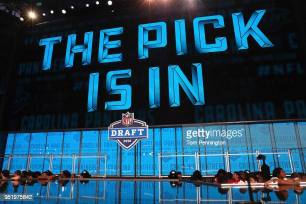 A video board displays the text THE PICK IS IN for the Carolina Panthers during the first round of the 2018 NFL Draft at ATT Stadium on April 26 2018...