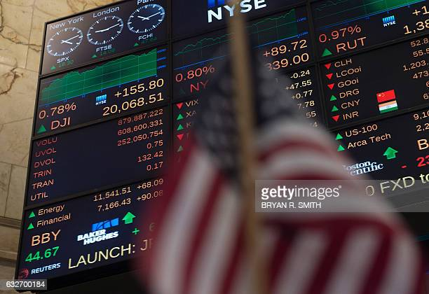 A video board shows the Dow Jones closing above 20000 for the first time at the New York Stock Exchange January 25 2017 in New York The Dow Jones...