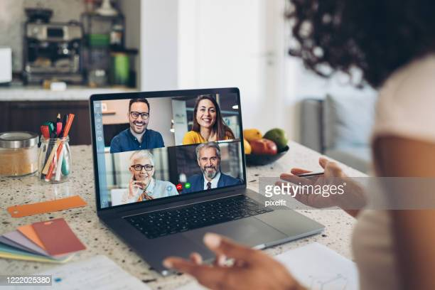video business meeting - video conference stock pictures, royalty-free photos & images