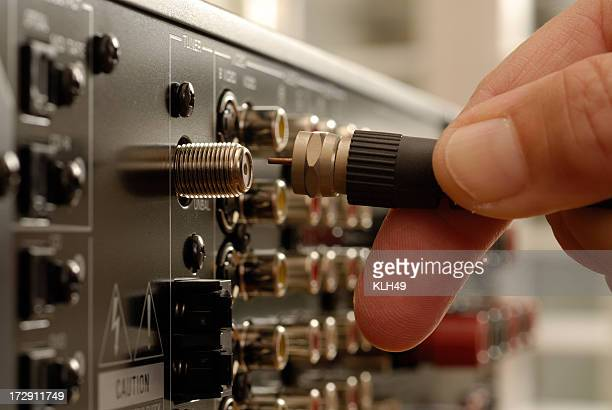 Video Cable being inserted into electronic equipment