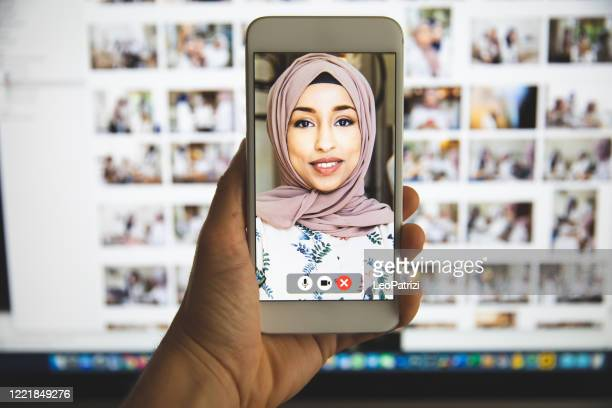 video call conference in quarantine - live broadcast stock pictures, royalty-free photos & images