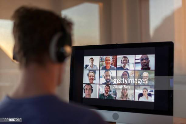 video call from home during lockdown - videoconferenza foto e immagini stock