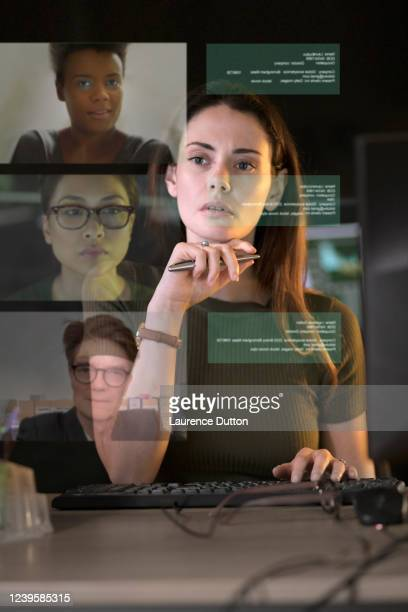 video call office vertical - the internet stock pictures, royalty-free photos & images