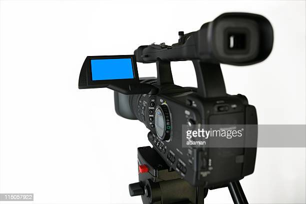 video camera + clipping path - sound recording equipment stock pictures, royalty-free photos & images