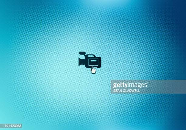 video camera icon on monitor - camera icon stock pictures, royalty-free photos & images