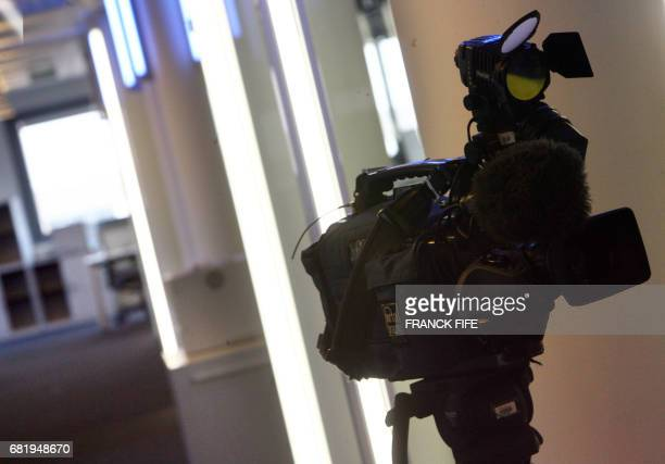 A video camera is pictured 13 September 2006 at the editing room in the headquarters of the French new international news TV channel in...